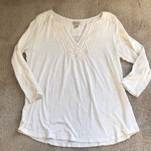 Ivory Embroidered Henley Top from Lucky Brand